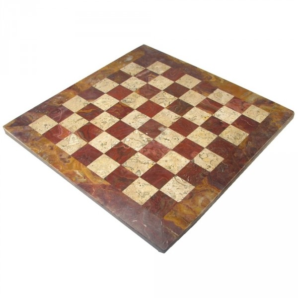 Coral and Red Marble Chess Board