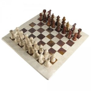 Deluxe European Red and Botticino Marble Chess Set