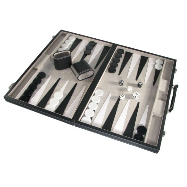 Black Vinyl Attache Style Backgammon Set 18""
