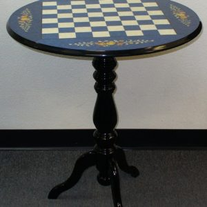 Round Briarwood Blue Floral Lacquered Chess Table