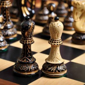 The Burnt Zagreb '59 Series Chess Set and Board