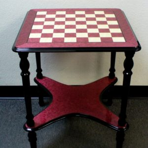 Square 4 leg Briarwood Wine Lacquered Chess Table