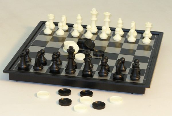 "12"" Folding Magnetic Chess and Checkers"