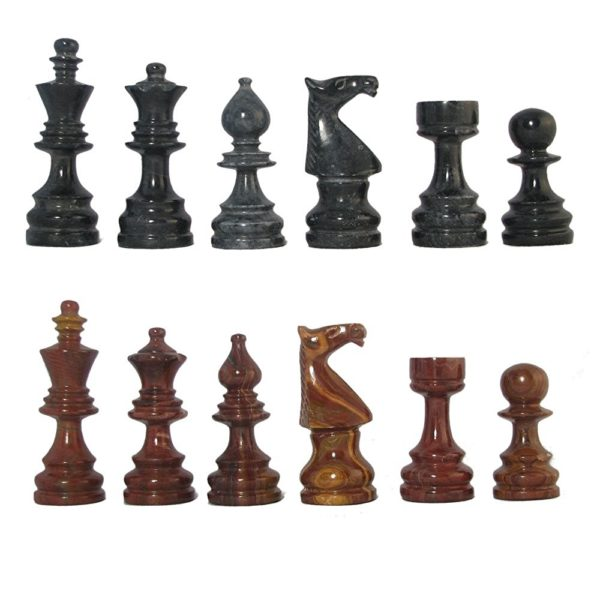 Black and Red Deluxe Style Marble Chess Pieces