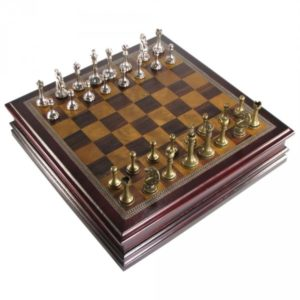 Antique Pewter Staunton Chess Set