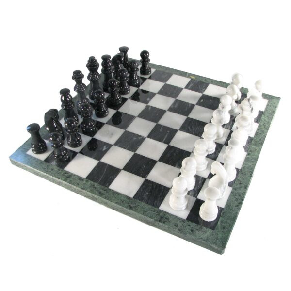 16'' Marble Chess Set - Black and White