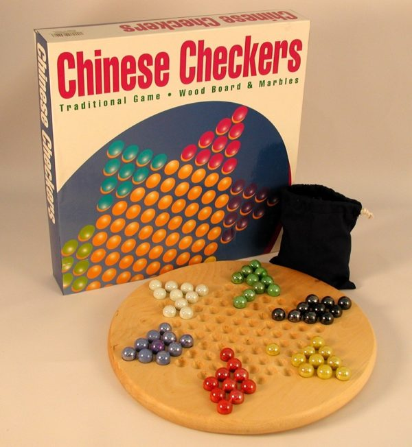 "12"" Wood Round Chinese Checkers"