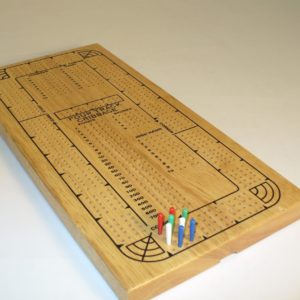 4 Track Cribbage Board Solid Wood