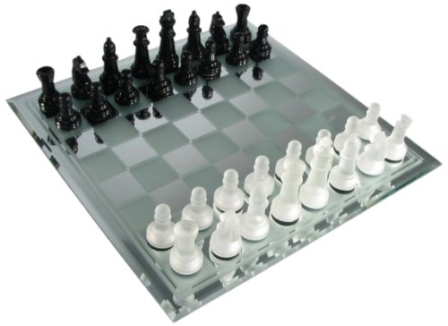 Black and Frosted glass chess set