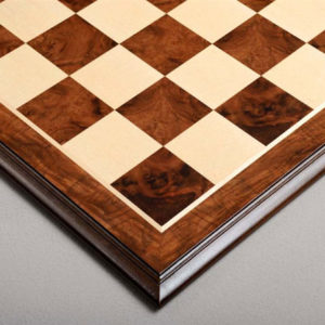 Elm Burl and Maple Superior Traditional Chessboard