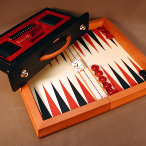 Wood Attache Backgammon Red and Black