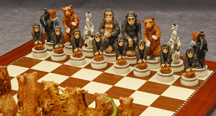 Animal Kingdom Chessmen And Champion Board Quality Games Tx