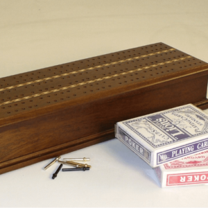 Walnut 2 Track Cribbage Box & Inlaid Stripes Houston