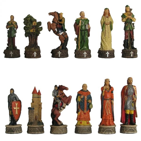 Hand Painted Robin Hood Polystone Chess Pieces