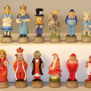 Alice in Wonderland Hand Painted Resin Chessmen