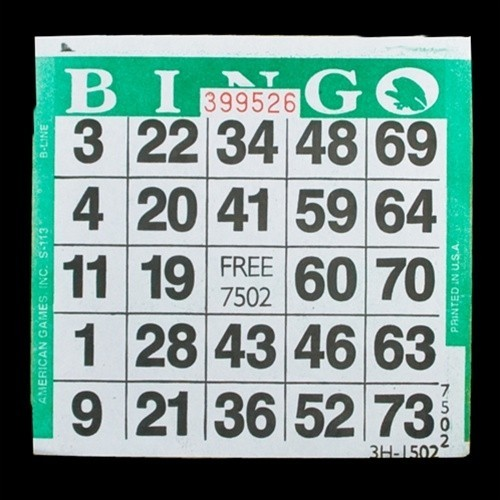 1 on Green Bingo Paper Cards - 500 cards per pack