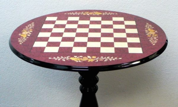 Round Briarwood Wine Floral Chess Table