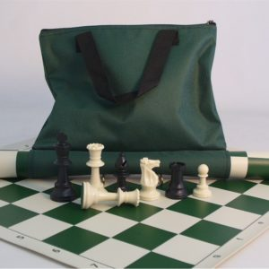 Green Canvas Chess Tote Zipper Pocket