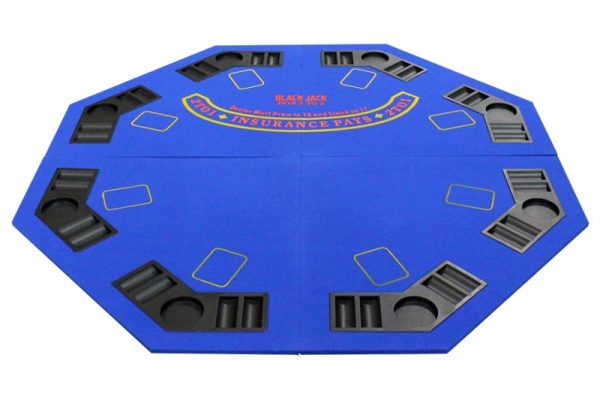 4 Fold Octagon Poker/Blackjack Table Top – Blue