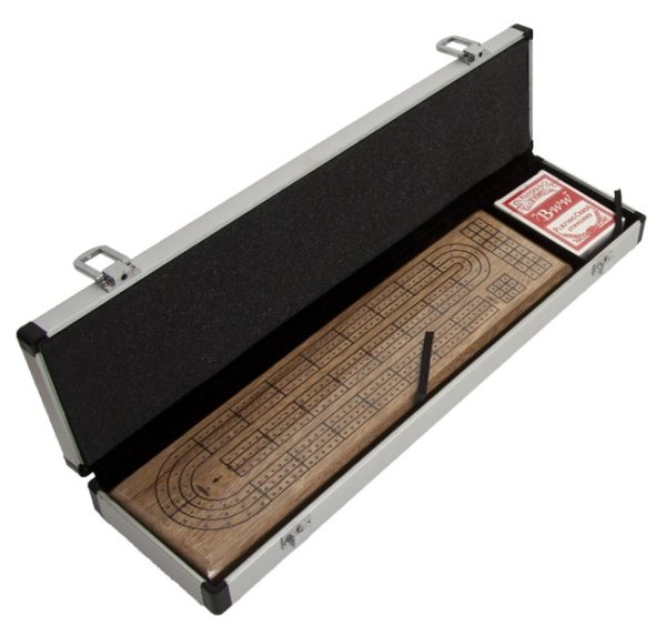 Walnut 3 Track Cribbage Board in Aluminum Case