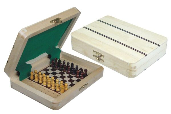 Ebony Inlaid Wood Top Travel Pegged Chess Set