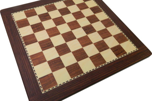 Rosewood & Maple Chess Board Rounded Corners