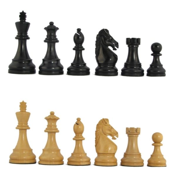 "3 1/2"" MoW Ebony Hoplites Staunton Chess Pieces"