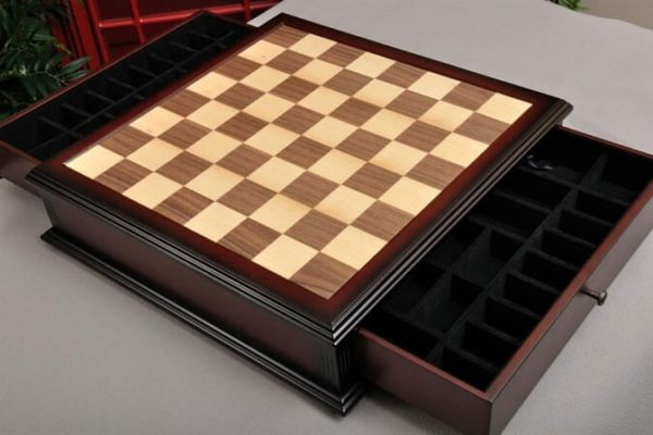 Walnut and Maple Chess Board with Storage Drawers