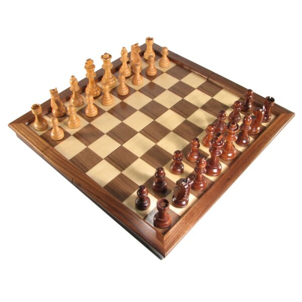 "18"" Deluxe Walnut Folding Chess Set"