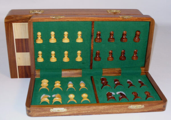 14'' Folding Magnetic Wood Chess Set