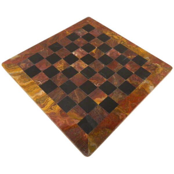 Black and Red Marble Chess Board