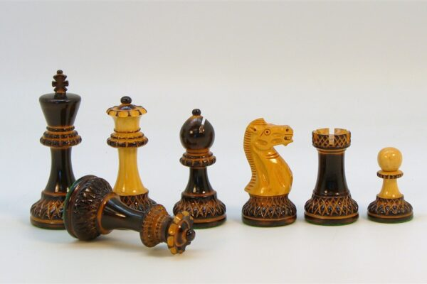 Burnt Ebonized and Boxwood Chessmen