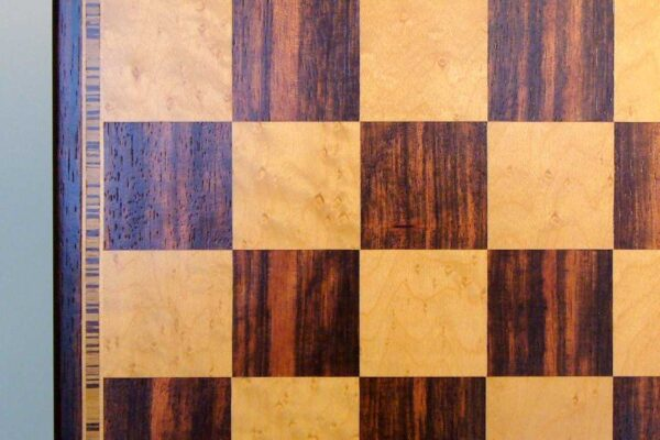 Ebony and Maple Veneer Chess Board Beveled Edge