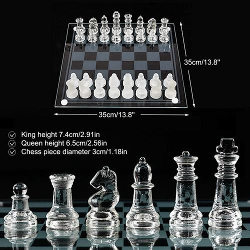 K9 Glass Chess Set Transparent and Frosted Pieces