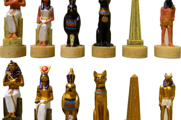 Hand Painted Egyptian Polystone Chess Pieces