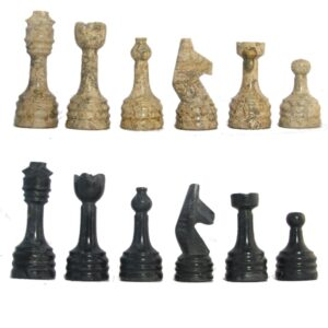 Black & Coral Rustic Style Marble Chess Pieces